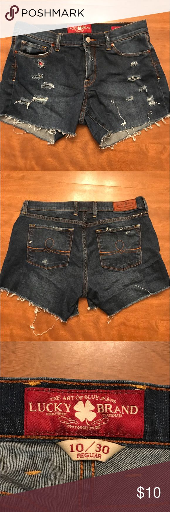 """Lucky Brand Distressed Shorts **HOMEMADE** lucky brand shorts, inseam is about 3.5"""" Lucky Brand Shorts Jean Shorts"""