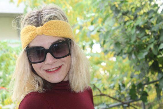 Handknit Turban  Lady's Headband Yellow  Earwarmer by ManibusFacta