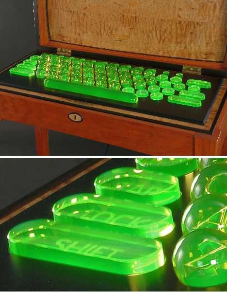 10 Odd Objects Made From Uranium Glass. A form of glassware known for the vivid green glow it exudes under ultraviolet light, contains from 2% to 25% uranium oxide by weight. Also known as Vaseline Glass and negligibly radioactive, these pale yellow to jade green pieces were popular home and tableware items from the mid-nineteenth century through the start of the Cold War.