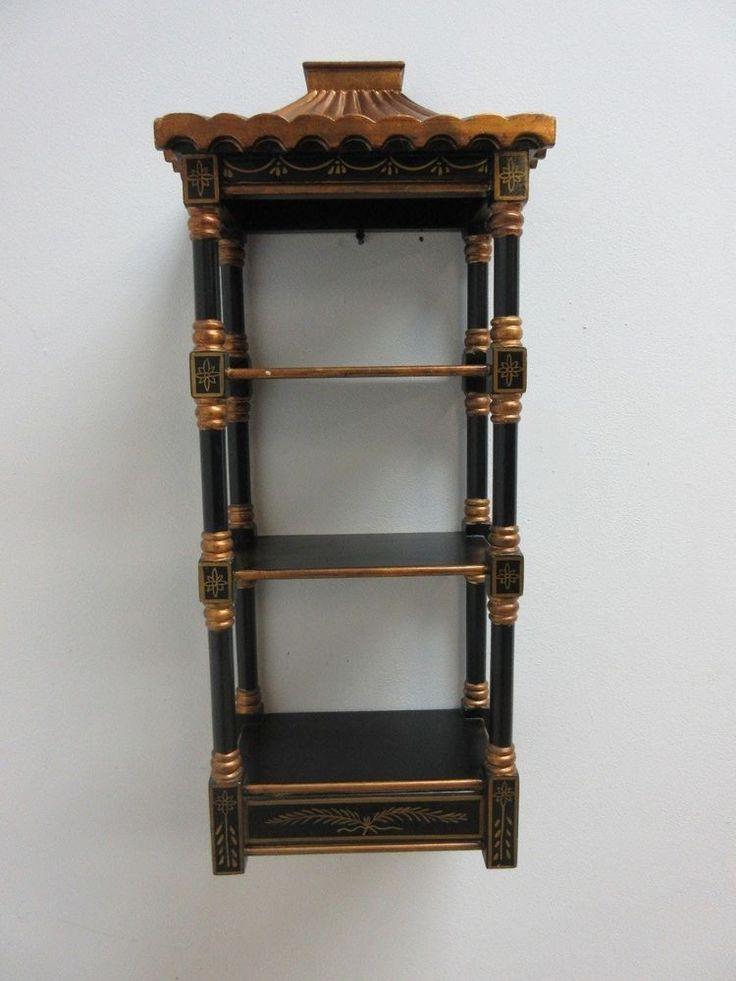 vinatge asian chinoiserie pagoda top wall shelf curio on wall shelves id=16745
