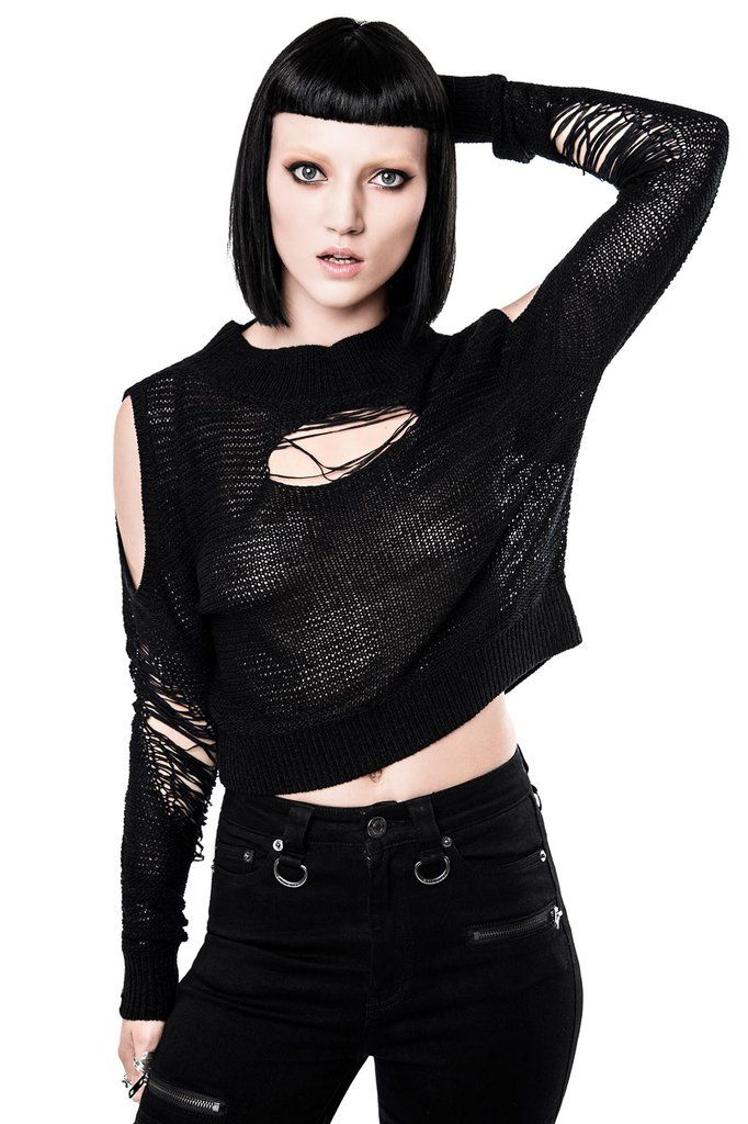 GALLOWS. Never surrender, never get caught. Shop black soft touch crop knit top with distressed detailing.