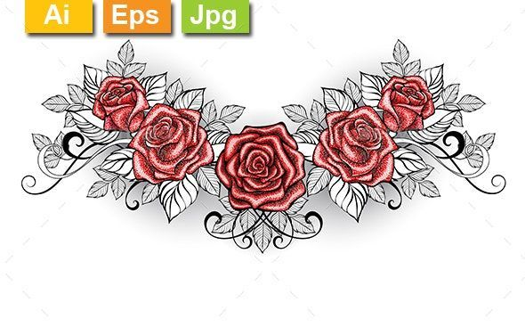 Rose Tattoos Dotwork In 2020 Lower Back Tattoo Designs Red Rose Tattoo Back Tattoos