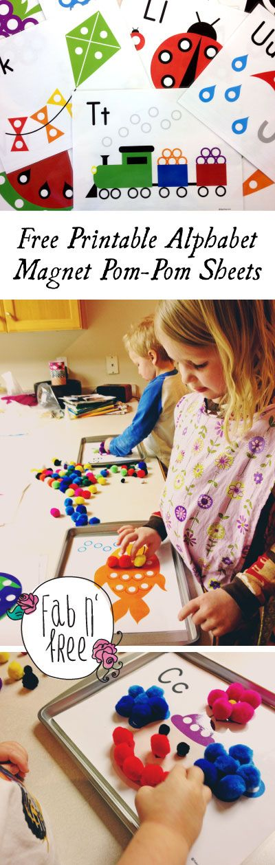 No Mess Entertainment for Toddlers!  Free Printable ABC Sheets... Kids place Pom-Poms (with magnets on them) on the dots to complete the picture.