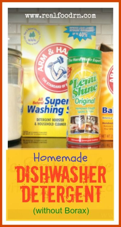 Homemade Dishwasher Detergent (without Borax). So easy to make with only a few non-toxic ingredients that you can get at your local supermarket. Saves a ton of money when you make it yourself! realfoodrn.com
