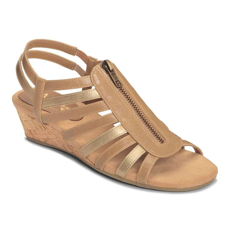 A2 by Aerosoles Yetaway Women's Zip-Up Wedge Sandals, Size: medium (9.5), Med Brown
