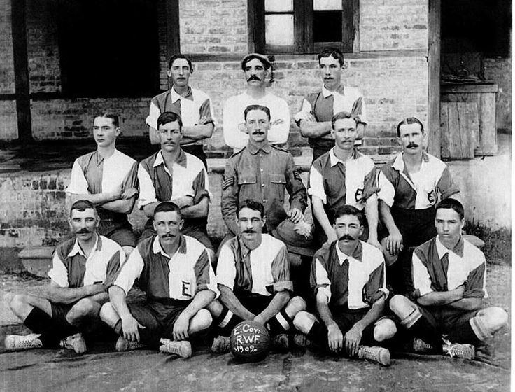 E Company 2nd Bn RWF Football Team Burma 1909 Sergeant William George Cox 7906 2nd Bn RWF MM (middle row first right) 2nd Photo is H Company 2nd Bn RWF Football team 1909.