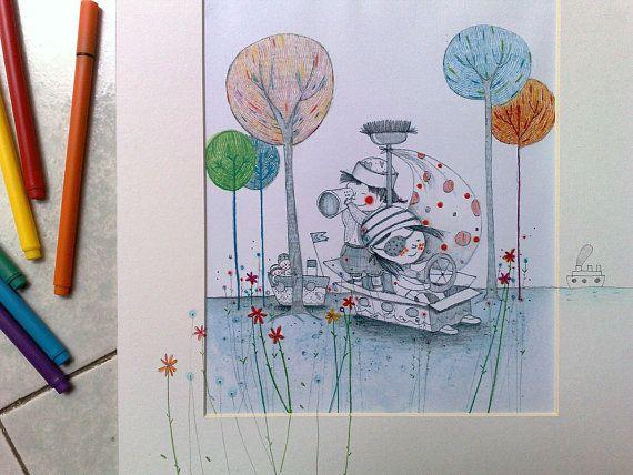 Stampa a colori illustrazione con di OfficinaMezzaluna su Etsy