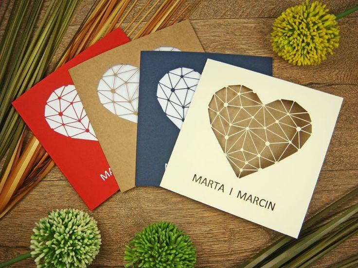 wzory zaproszeń ślubnych z kolekcji Serce wzór 59     Zaproszenia ślubne laserowe, kartki 3D