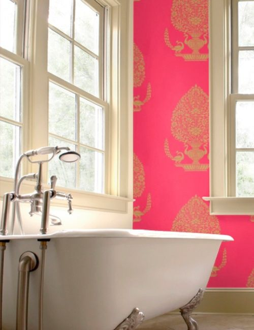 25 best gorgeous bright bathrooms images on pinterest for Bright bathroom wallpaper