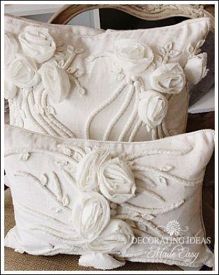 lovely decorative rosebud pillows...