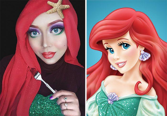 Русалочка, Принцесса Жасмин или даже Джафар - малайский визажист Сарасвати может превратить себя в любой символ Диснея.