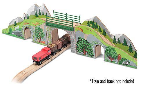 Melissa & Doug Wooden Railway Mountain Bridge and Tunnel Train Set Accessory