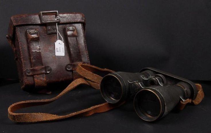 Paire de #jumelles allemandes DF 08. Dans son étui en #cuir fauve. A.B.E. 1ère Guerre Mondiale.