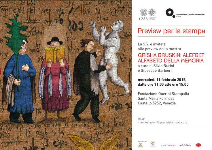 """Invito per l'inaugurazione della mostra """"Grisha Bruskin. Alefbet: alfabeto della memoria"""", 11 febbraio 2015 ore 17:00. #grishabruskin #querinistampalia #exhibition #russianart #contemporaryart"""