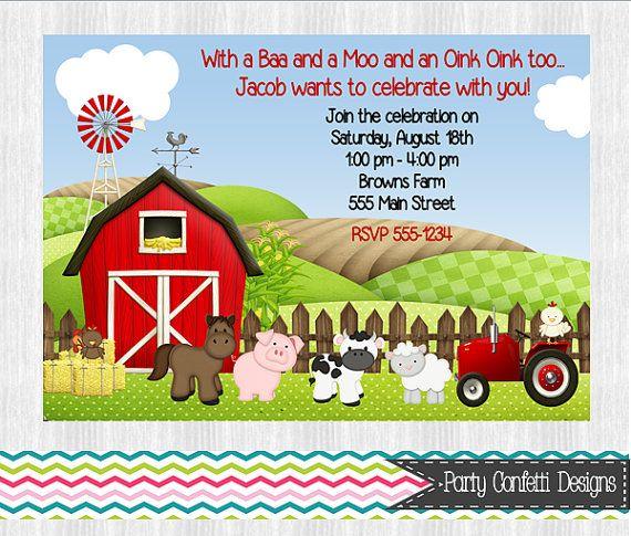 Farm Birthday Invitations by PartyConfettiDesigns on Etsy, $8.00