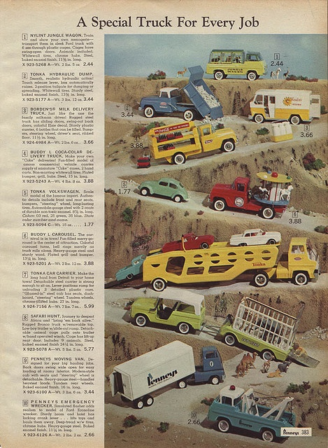 Toy Trucks in J.C. Penney's Christmas Catalog, 1966, by Wishbook, via Flickr.  I still have the Tonka car carrier shown here.