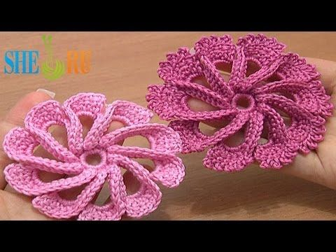 Crochet 3D Flower Twisted Petals How to