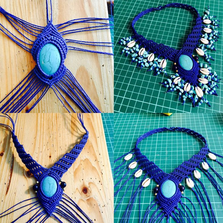 Making of a beautiful unique macrame collier with cowry shells and myriads of turquoise :)