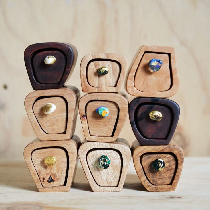 Tiny wooden boxes made from offcuts of beautiful Australuan timbers with handmade glass drawer pulls