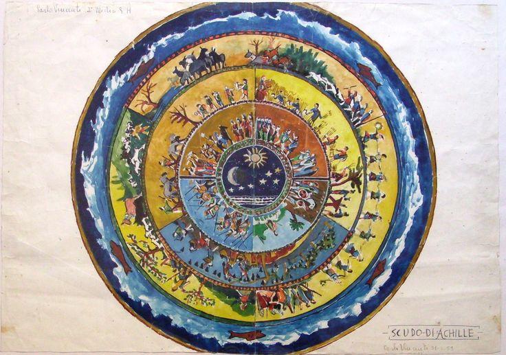 'Achilles' shield', watercolor by Carlo Vincenti, 1959.