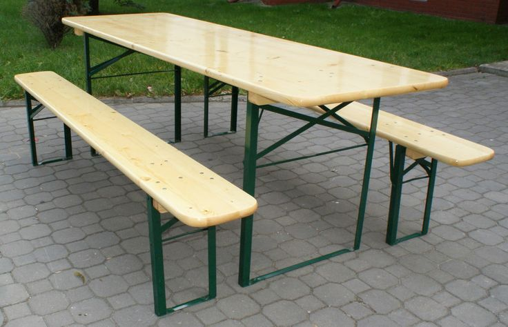 10-SEAT OUTDOOR BAVARIAN BEER TABLE SET, FOLDABLE CLEAR ...