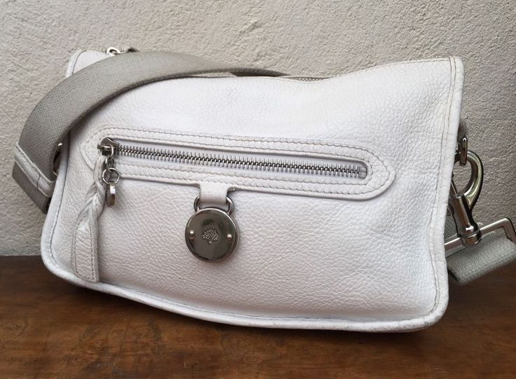Authentic MULBERRY bag shoulder SOMERSET pouch CLUTCH real leather WHITE