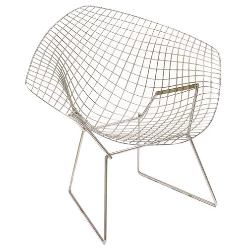 "This piece was designed by Harry Bertoia in 1950 for Knoll.   As Bertoia said himself, ""If you look at these chairs, they are mainly made of air, like sculpture. Space passes right through them."""
