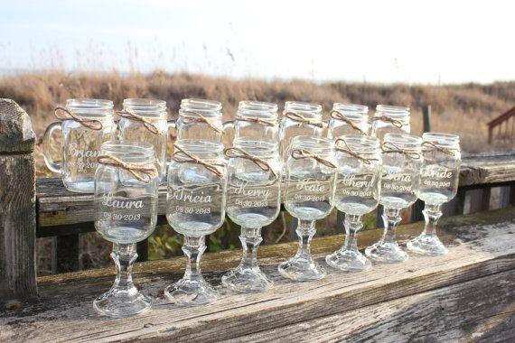 14 Mason jars, 7 Redneck Wine Glasses , 7 mason jar mugs, Wedding Party, Mason jars