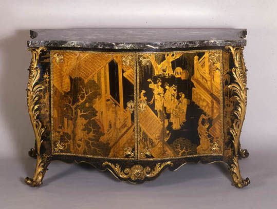 Commissioned by Horace Walpole of Strawberry Hill 1763 by Langlois, Pierre Eloy (French cabinetmaker, 1738-1805) Chinese lacquer, English japanning, softwood