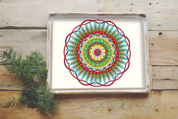 Digital Mandala Art Coloring Page by MerakiColoringDesign on Etsy
