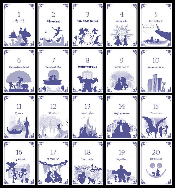 Disney-Themen-Tabelle Zahlen Set 20 Digital/Self-Print