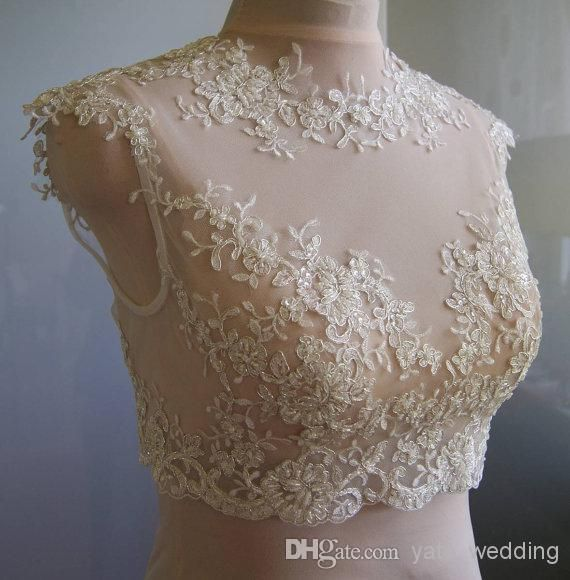 2015 New Arrival Ivory Bridal Jackets With Crew Neck Cap Sleeves Appliques Tulle Custom Made Lace Wedding Shrug Bolero Wrap On Sale 2014, $27.13 | DHgate.com