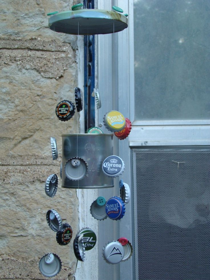 My beer bottle caps wind chime. Love recycling.   Crafts