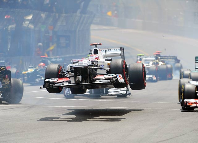 Kamui Kobayashiu0027s Car Goes Airborne During The Formula One Monaco Grand  Prix Race May 2012