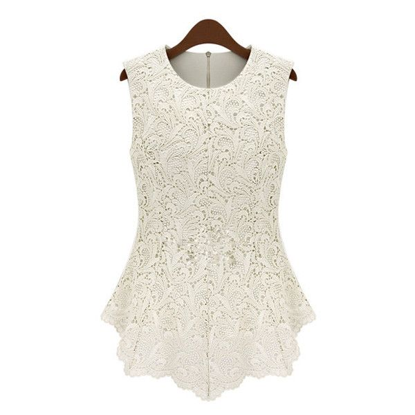 Plus Size Elegant Women s Jewel Neck Sleeveless Lace Blouse ($12) ❤ liked on Polyvore featuring tops, blouses, white, sleeveless tops, lace blouse, sleeveless blouse, white sleeveless top and lace top