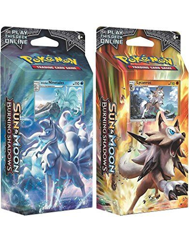 BOTH Pokemon TCG Sun & Moon Burning Shadows Theme Decks - Ninetales & Lycanroc  Fiery Battles and Deep Shadows! What strange fires lurk in the shadows?  Minions of Team Skull and a cavalcade of new Pokémon stand ready to battle in the dark of night and in the blazing sun! Slug it out with new titans like Necrozma-GX and Tapu Fini-GX, or battle with trusty allies from Machamp-GX and Charizard-GX to Darkrai-GX and Ho-Oh-GX. Fight for what's right with the Pokémon TCG: Sun & Moon-Burning ...