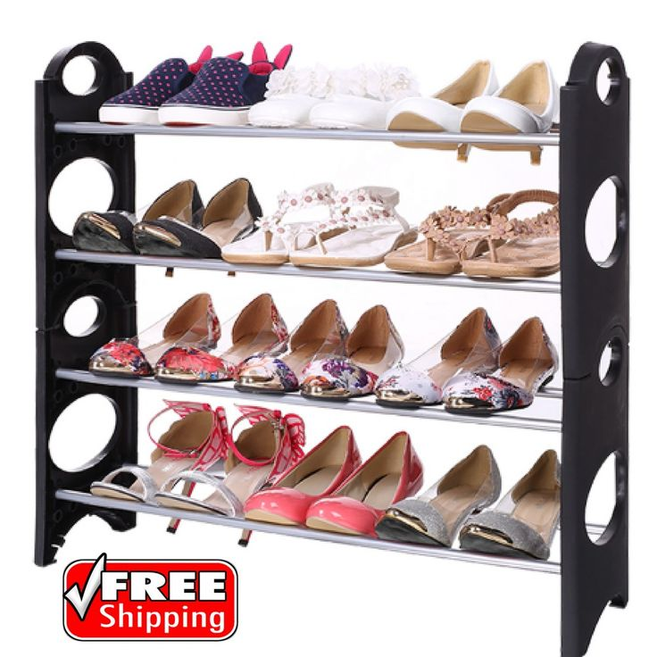 4 Tier Stackable Shoe Rack Storage Organizer Adjustable Boot Holder Stand Black | Home & Garden, Household Supplies & Cleaning, Home Organization | eBay!
