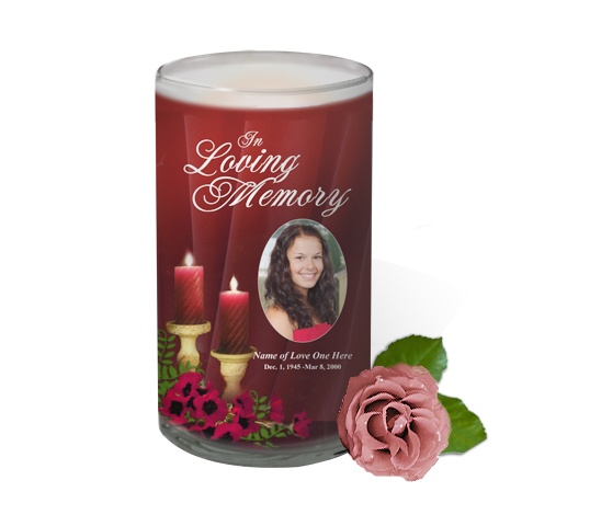 3x6 Glass Candles : Candlelight Custom Photo Memorial Glass Candle 3x6