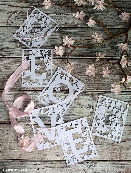 Spring in Bloom LOVE Banner (with free printable template and svg files for Silhouette Cameo) - Lia Griffith