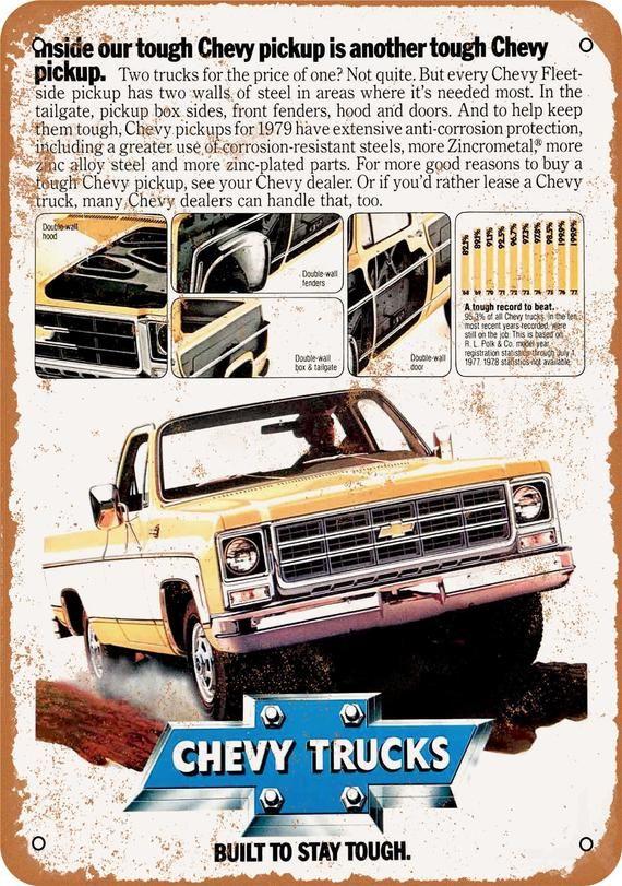 1979 Chevrolet Trucks Vintage Look Metal Sign Etsy In 2020 Chevy Trucks Chevy Chevy Pickup Trucks