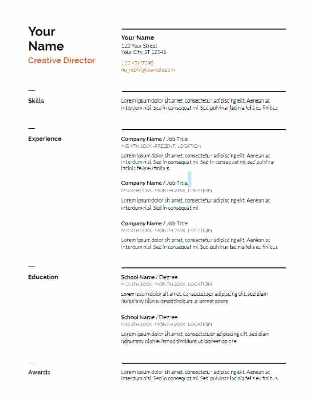 Google Documents Resume Template Docs