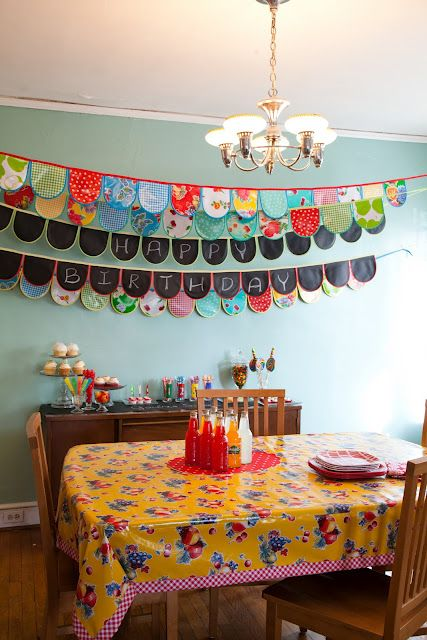 These banners were made with Oilcloth and Chalkcloth