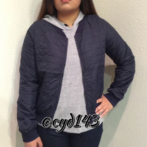 """Navy blue bomber jacket Navy blue light/slim bomber jacket. """"Classic Tom Boy Jacket"""" by Moon Collection. Also available in Small & Large. Pics 3 & 4 photos by Moon Collection. Moon Collection Jackets & Coats"""