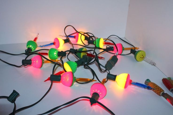 Vintage Noma Bubble Christmas Lights 10 bulbs two string holders Blue Red Yellow #Noma