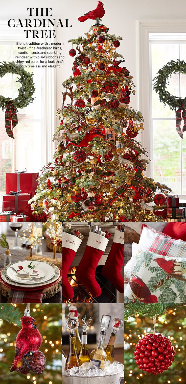 Pottery Barn Cardinal Tree with many plaid ornaments.