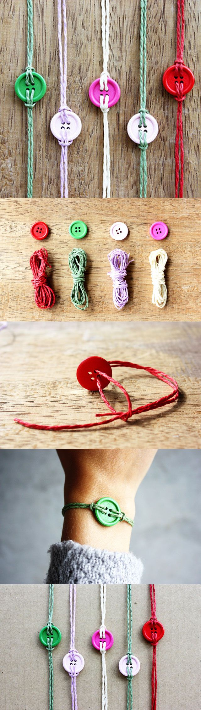 DIY Button Bracelet. Easy and Colorful, make some and wear together. My Elvi…                                                                                                                                                                                 Más