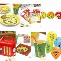 Dear Zoo Party Set Tableware Decorations For 8 Plates Cups Napkins Bunting balloons invitations boxes