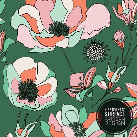 Design detail with hand drawn flowers ...... I really like this unusual colour palette.... it brings a whole new meaning to a green thumb ! #kirstenkatzdesigner #surfacedesign #printandpatterndesign #illustration #drawing #handrawndesign #linedrawing #penandink #printdesign #textiledesign #giftwrap #packagingillustration #homedecor #wallpaper #surfacepatterndesignstudio #kirstenkatzdesignstudio #patterndesign #floralprint
