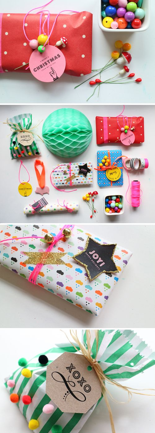 Merry & bright gift wrap ideas by minimega . Thanks, Sara, for sharing your awesome gift tags ! For more gift wrapping inspiration fo...