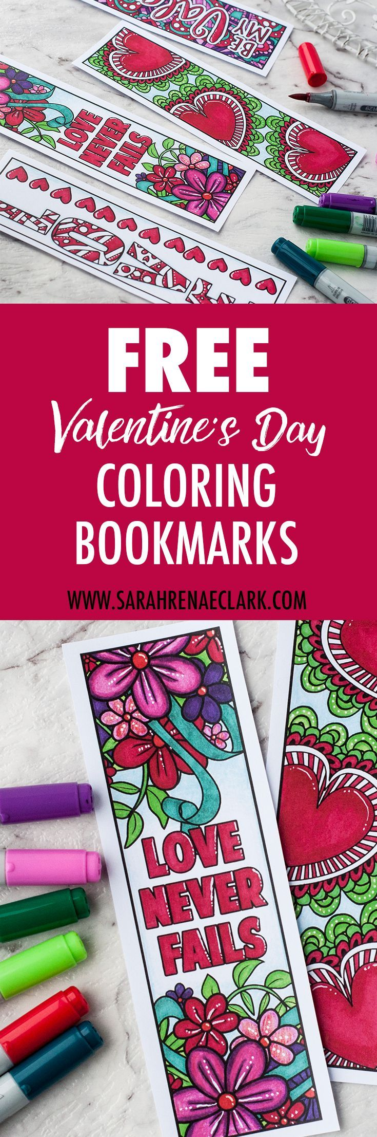 Free Valentine's Day Printable Bookmarks | Find more Valentine's coloring page craft templates at www.sarahrenaeclark.com | Valentine's Day Craft, DIY Valentine's Day, Valentine's Day activity, DIY craft, free craft template, printable coloring pages